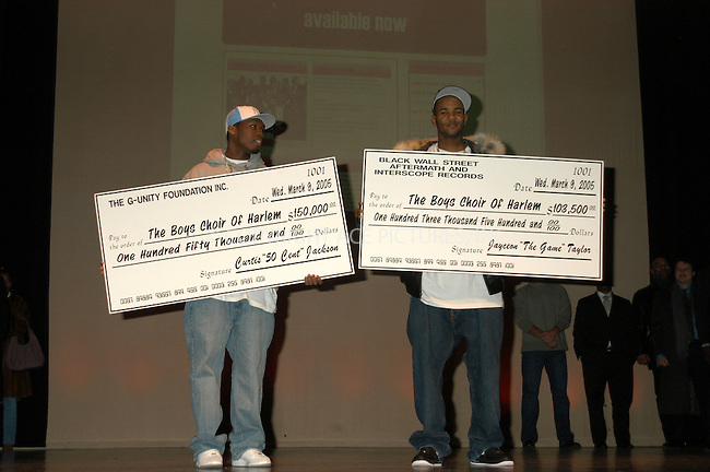 WWW.ACEPIXS.COM . . . . . ....NEW YORK, MARCH 9 ,2005....50 Cent and The Game end the dispute at the Schomburg Center for Research in Black Culture. Both gave a donation to the Harlem Boys Choir and The Compton Unified School District totalling over 250 thousand dollars. The donations were given to Dr. Walter Turnbull.....Please byline: KRISTIN CALLAHAN - ACE PICTURES.. . . . . . ..Ace Pictures, Inc:  ..Philip Vaughan (646) 769-0430..e-mail: info@acepixs.com..web: http://www.acepixs.com