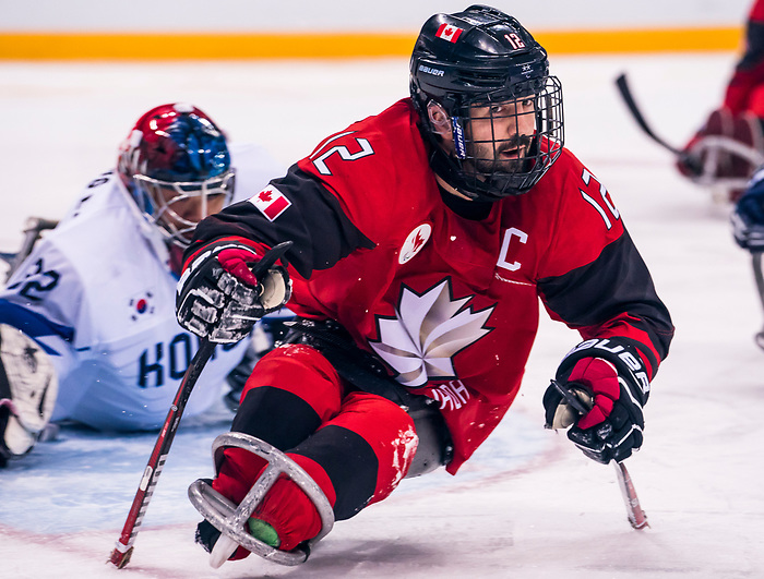 PyeongChang 15/3/2018 - Greg Westlake (#12), of Oakville, ON,  in action as Canada takes on Korea in semifinal hockey action at the Gangneung Hockey Centre during the 2018 Winter Paralympic Games in Pyeongchang, Korea. Photo: Dave Holland/Canadian Paralympic Committee