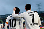Valencia CF's Daniel Parejo (L) and Gonzalo Guedes (R) celebrate goal during La Liga match between Getafe CF and Valencia CF at Coliseum Alfonso Perez in Getafe, Spain. November 10, 2018.