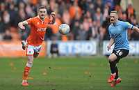 Blackpool's Oliver Turton under pressure from Southend United's Sam Mantom<br /> <br /> Photographer Kevin Barnes/CameraSport<br /> <br /> The EFL Sky Bet League One - Blackpool v Southend United - Saturday 9th March 2019 - Bloomfield Road - Blackpool<br /> <br /> World Copyright © 2019 CameraSport. All rights reserved. 43 Linden Ave. Countesthorpe. Leicester. England. LE8 5PG - Tel: +44 (0) 116 277 4147 - admin@camerasport.com - www.camerasport.com