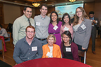 From left, standing, Daniel Barron '14, Tyer Radler '14, Ana Vargas '16 and Candice Crilly '16. From left, seated, Malcolm MacLeod '16, Rary Simmons '53 and Lisa Chang '16. Occidental College hosts the Scholarship Appreciation Reception, February 13, 2014 in Dumke Commons of Swan Hall.  (Photo by Marc Campos, Occidental College Photographer)