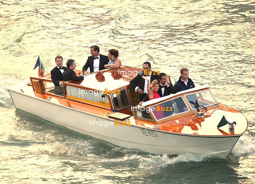 GEORGE CLOONEY &amp; AMAL ALAMUDDIN WEDDING CEREMONY AT THE AMAN RESORTS HOTEL IN VENICE - <br /> George Clooney &amp; British fiancee Amal Alamuddin and guests on taxi boat on the Grand Canal on their way to the seven-star Aman Hotel for the wedding celebrations.<br /> Robert De Niro, Matt Damon, Brad Pitt and Cate Blanchett were among the other stars, like Cindy Crawford, Rande Geber, Bill Murray, Emily Blunt.<br /> Italy, Venice, 27 September, 2014.