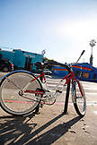 USA, Los Angeles, a bike locked up on the street of Abbot Kinney Boulevard