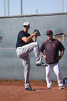 Brady Aiken (left), pitching coach Ken Knutson (right) - Cleveland Indians 2016 extended spring training (Bill Mitchell)