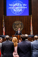 TALLAHASSEE, FLA. 3/3/15-Senate President Andy Gardiner, R-Orlando, welcomes members of the House of Representatives to his chamber as they arrive to tell him the House is ready to do business during the opening day of the 2015 Legislative Session Tuesday at the Capitol in Tallahassee.<br /> <br /> COLIN HACKLEY PHOTO