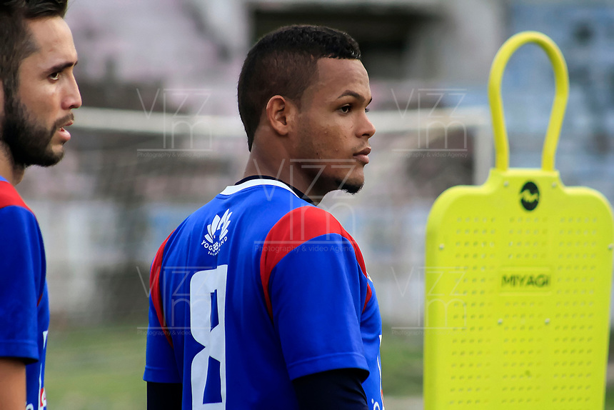 SANTA MARTA – COLOMBIA, 26-09-2019: Hernan Luna del Unión Magdalena durante entrenamiento hoy, 25 de septiembre de 2019, en el estadio Sierra Nevada de la ciudad de Santa Marta. / Hernan Luna of Union Magdalena during training today, september 25, 2019, at Sierra Nevada stadium in Santa Marta city. Photo: VizzorImage / Gustavo Pacheco / Cont