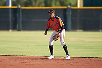 AZL Giants Orange second baseman Edison Mora (18) during a game against the AZL Angels at Giants Baseball Complex on June 17, 2019 in Scottsdale, Arizona. AZL Giants Orange defeated AZL Angels 8-4. (Zachary Lucy/Four Seam Images)
