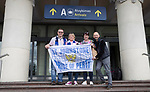FK Trakai v St Johnstone…05.07.17… Europa League 1st Qualifying Round 2nd Leg<br />Saints fans arriving at Vilnius airport from left, Robert MacIntosh, Sandra Paterson, Moyra Davies and Kevin Kulik<br />Picture by Graeme Hart.<br />Copyright Perthshire Picture Agency<br />Tel: 01738 623350  Mobile: 07990 594431