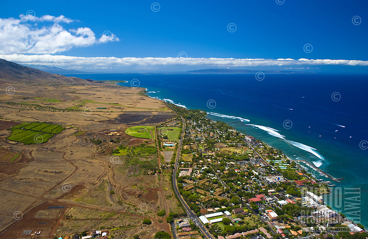 Aerial of West Maui, Lahaina town with Kahoolawe in the distance