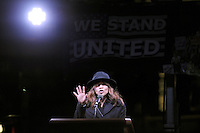 www.acepixs.com<br /> January 19, 2017  New York City<br /> <br /> Rosie Perez speaks onstage during the We Stand United Rally outside Trump International Hotel &amp; Tower on January 19, 2017 in New York City.<br /> <br /> Credit: Kristin Callahan/ACE Pictures<br /> <br /> Tel: 646 769 0430<br /> Email: info@acepixs.com