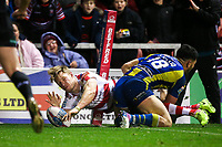 Picture by Alex Whitehead/SWpix.com - 16/03/2017 - Rugby League - Betfred Super League - Leigh Centurions v Warrington Wolves - Leigh Sports Village, Leigh, England - Leigh's Adam Higson scores a try.