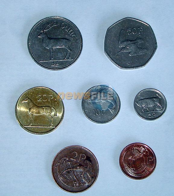 Irish coins.Pic Fran Caffrey Newsfile
