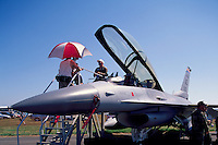 US Air Force General Dynamics F-16 Fighting Falcon (aka Viper) on Static Display - at Abbotsford International Airshow, BC, British Columbia, Canada