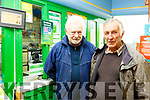 Ted Teehan and Peter Dunleavy at the  Post Office in Currow on Friday morning.