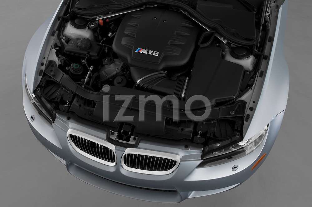 High angle engine detail of a 2008 BMW M3 Convertible.