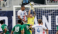 Chester, PA - Monday May 28, 2018: Weston McKennie, Guillermo Viscarra during an international friendly match between the men's national teams of the United States (USA) and Bolivia (BOL) at Talen Energy Stadium.