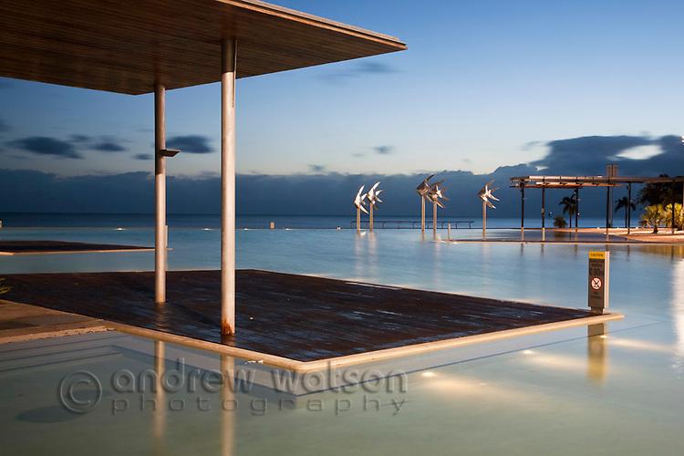 The Esplanade Lagoon at dawn.  Cairns, Queensland, Australia