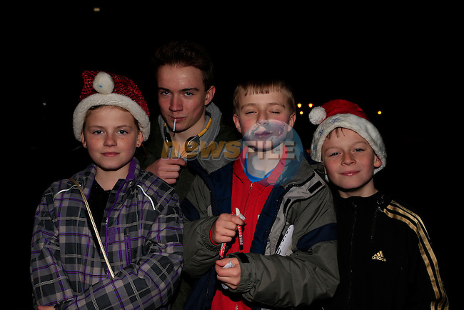 Jasmin Hastings, Ciaran robillard, ciaran Robillard and Jake Hastings  at the switching on of the christmas tree lights in laytown.<br /> Picture: Fran Caffrey www.newsfile.ie