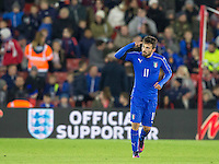 Federico Di Francesco (Bologna) of Italy celebrates his goal 1 2 during the Under 21 International Friendly match between England and Italy at St Mary's Stadium, Southampton, England on 10 November 2016. Photo by Andy Rowland.
