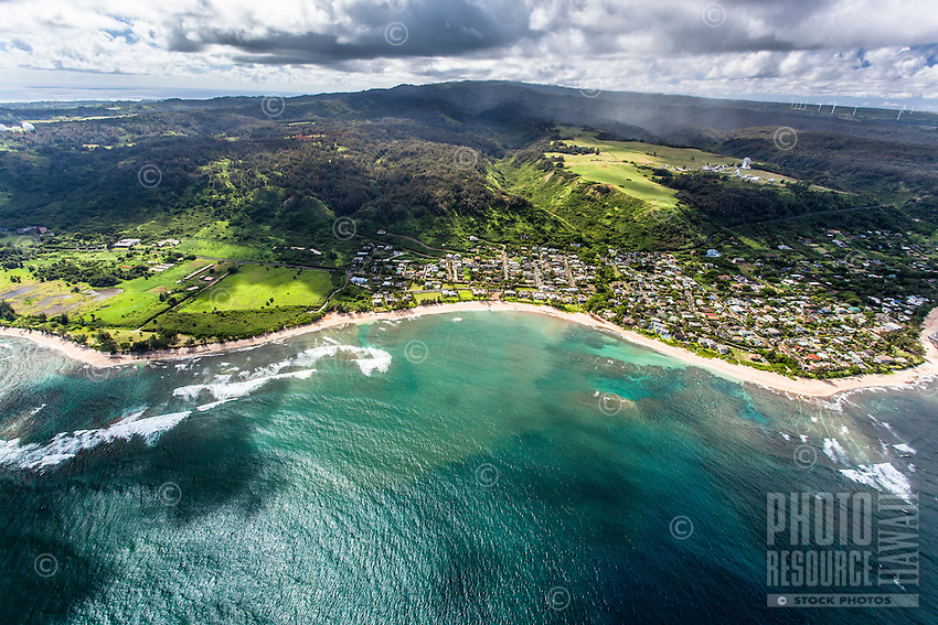 An aerial view of Sunset Beach and surrounding North Shore community, O'ahu.