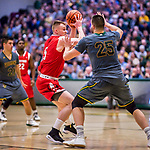 18 February 2018: Hartford University Hawk Forward JohnCarroll, a Redshirt Junior from Dublin, Ireland, in action against the University of Vermont Catamounts at Patrick Gymnasium in Burlington, Vermont. The Catamounts fell to the Hawks 69-68 in their America East Conference matchup. Mandatory Credit: Ed Wolfstein Photo *** RAW (NEF) Image File Available ***