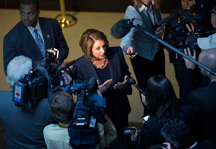WASHINGTON, DC- Jan. 12: House Minority Leader Nancy Pelosi, D-Calif., talks to media outside Democratic meetings for the steering committee to decide committee posts, and a security briefing for members in the wake of the shooting in Tuscon, Ariz., on Jan. 8 that killed six and injured 14, including Giffords, D-Ariz., who is recovering after being shot in the head. (Photo by Scott J. Ferrell/Congressional Quarterly)