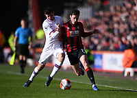 29th February 2020; Vitality Stadium, Bournemouth, Dorset, England; English Premier League Football, Bournemouth Athletic versus Chelsea; Adam Smith of Bournemouth competes for the ball with Mason Mount of Chelsea