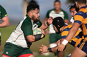 Sam Aiono charges towards Siosifa Pole. Counties Manukau Premier Club Rugby game between Manurewa and Patumahoe, played at Mountfort Park Manurewa on Saturday June 23rd 2018. Patumahoe won the game 29 - 24 after trailing 12 - 19 at halftime.<br /> Manurewa Kidd Contracting 24 - Petelo Ikenasio, David Osofua, Paolelei Luteru, Pisi Leilua tries, Timothy Taefu 2 conversions,<br /> Patumahoe Troydon Patumahoe Hotel 29 - Kalim North, Shea Furniss, Jonny Wilkinson, Mark Royal, James Brady tries,  Broc Hooper 2 conversions.<br /> Photo by Richard Spranger