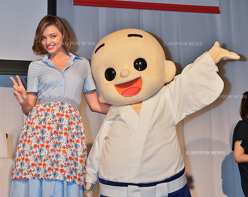 Miranda Kerr, Marukome-kun June 20, 2016, Tokyo, Japan : Model Miranda Kerr (L) and Marukome-kun attend an event for fermented foods company, Marukome Co.,Ltd. at Shangri-La Hotel in Tokyo, Japan on June 20, 2016.