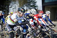 Peter Sagan (SVK/Tinkoff) &amp; Tom Boonen (BEL/Etixx-QuickStep) chatting along<br /> <br /> Kuurne-Brussel-Kuurne 2016