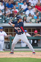 KJ Harrison (34) of the US Collegiate National Team at bat against the Cuban National Team at BB&T BallPark on July 4, 2015 in Charlotte, North Carolina.  The United State Collegiate National Team defeated the Cuban National Team 11-1.  (Brian Westerholt/Four Seam Images)