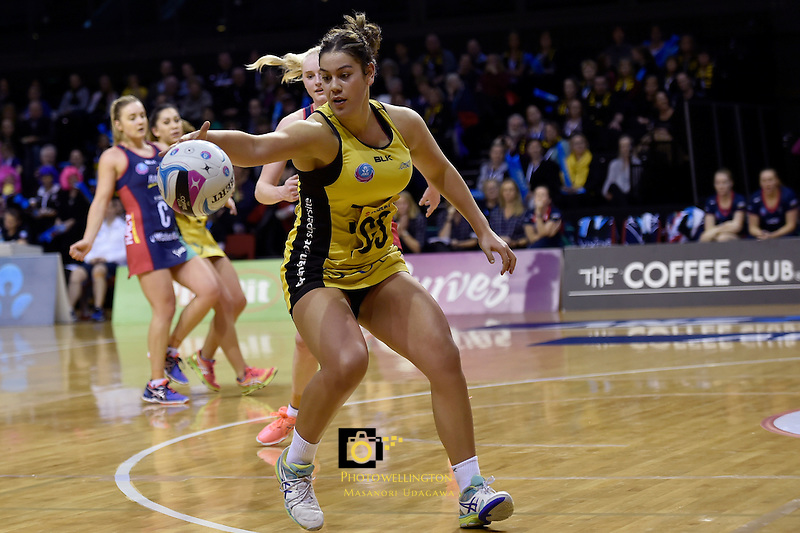 Pulse's Maia Wilson in action during the ANZ Championship - Central Pulse v Vixens at TSB Bank Arena, Wellington, New Zealand on Monday 4 July 2016. <br /> Photo by Masanori Udagawa. <br /> www.photowellington.photoshelter.com.