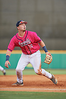 Pensacola Blue Wahoos third baseman Ryan Costello (18) during a Southern League game against the Mobile BayBears on July 25, 2019 at Blue Wahoos Stadium in Pensacola, Florida.  Pensacola defeated Mobile 2-1 in the first game of a doubleheader.  (Mike Janes/Four Seam Images)