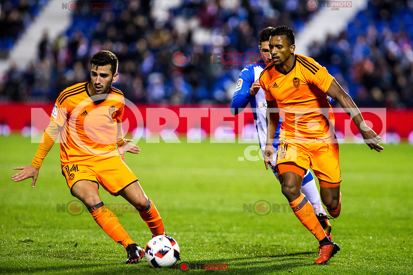 "Valencia's Gaya and Nani Almeida during the match of ""Copa del Rey"" between CD Leganes and Valencia CF at Butarque Stadium in Leganes, Spain. November 29, 2016. (ALTERPHOTOS/Rodrigo Jimenez) /NORTEPHOTO.COM"