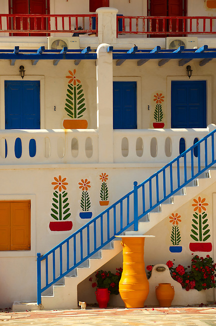House decorated with traditional folk art. Mykonos, Cyclades Islands, Greece.