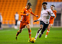 Blackpool's Sean Graham gets away from Derby County's Archie Brown<br /> <br /> Photographer Alex Dodd/CameraSport<br /> <br /> The FA Youth Cup Third Round - Blackpool U18 v Derby County U18 - Tuesday 4th December 2018 - Bloomfield Road - Blackpool<br />  <br /> World Copyright &copy; 2018 CameraSport. All rights reserved. 43 Linden Ave. Countesthorpe. Leicester. England. LE8 5PG - Tel: +44 (0) 116 277 4147 - admin@camerasport.com - www.camerasport.com