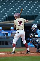 Donovan Casey (30) of the Boston College Eagles at bat against the North Carolina Tar Heels in Game Five of the 2017 ACC Baseball Championship at Louisville Slugger Field on May 25, 2017 in Louisville, Kentucky. The Tar Heels defeated the Eagles 10-0 in a game called after 7 innings by the Mercy Rule. (Brian Westerholt/Four Seam Images)