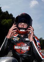 May 19, 2014; Commerce, GA, USA; NHRA pro stock motorcycle rider Andrew Hines the Southern Nationals at Atlanta Dragway. Mandatory Credit: Mark J. Rebilas-USA TODAY Sports