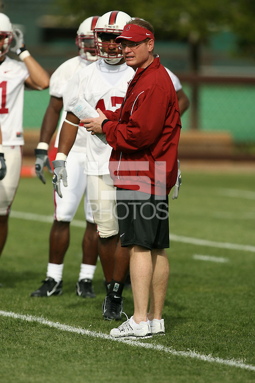 4 April 2007: Scott Shafer during the first day of spring practice at Stanford University in Stanford, CA.