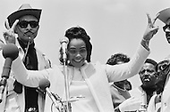 09 May 1970, Washington, DC, USA --- Coretta Scott King at a demonstration in Washington, DC, where over 100,000 students are protesting the recent violence used to breakup a Vietnam War protest at Kent State University. Four Kent State students were killed, and many others injured, when members of the National Guard fired tear gas and rifles into crowds of student demonstrators who were protesting the Nixon administration's expansion of the Vietnam War into Cambodia. --- Image by © JP Laffont
