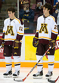 Tony Lucia (University of Minnesota - Plymouth, MN) and David Fischer (University of Minnesota - Apple Valley, MN) line up. The University of Minnesota Golden Gophers defeated the Michigan State University Spartans 5-4 on Friday, November 24, 2006 at Mariucci Arena in Minneapolis, Minnesota, as part of the College Hockey Showcase.