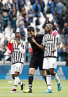 Calcio, Serie A: Juventus vs Carpi. Torino, Juventus Stadium, 1 maggio 2016.<br /> From left, Juventus' Patrice Evra, Gianluigi Buffon and Paul Pogba celebrate at the end of the Italian Serie A football match between Juventus and Carpi at Turin's Juventus Stadium, 1 May 2016. Juventus won 2-0.<br /> UPDATE IMAGES PRESS/Isabella Bonotto