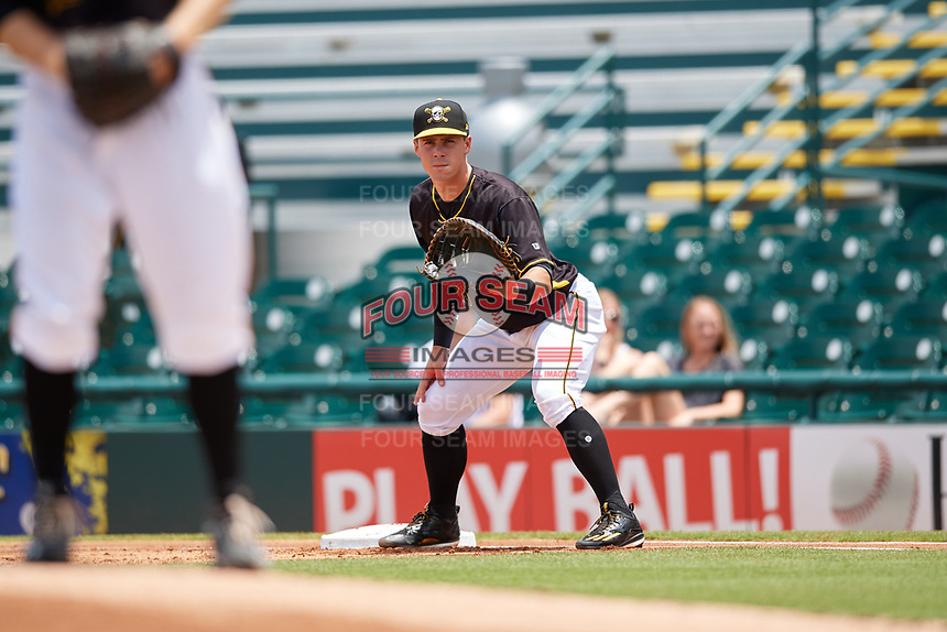 Bradenton Marauders first baseman Lucas Tancas (29) holding the bag during the first game of a doubleheader against the Jupiter Hammerheads on May 27, 2018 at LECOM Park in Bradenton, Florida.  Bradenton defeated Jupiter 13-5.  (Mike Janes/Four Seam Images)