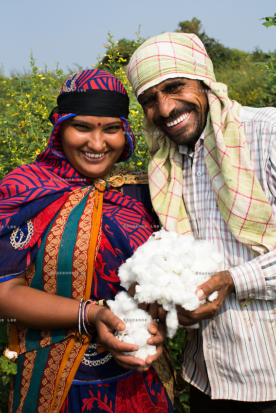 Fairtrade cotton farmer Sugna Jat, 30, picks cotton together with her husband, Nandaram Jat, 40, in their farm in Maheshwar, Khargone, Madhya Pradesh, India on 13 November 2014. Sugna and Nandaram do the farming together and hire labourers at a fair wage when they need to. Photo by Suzanne Lee for Fairtrade