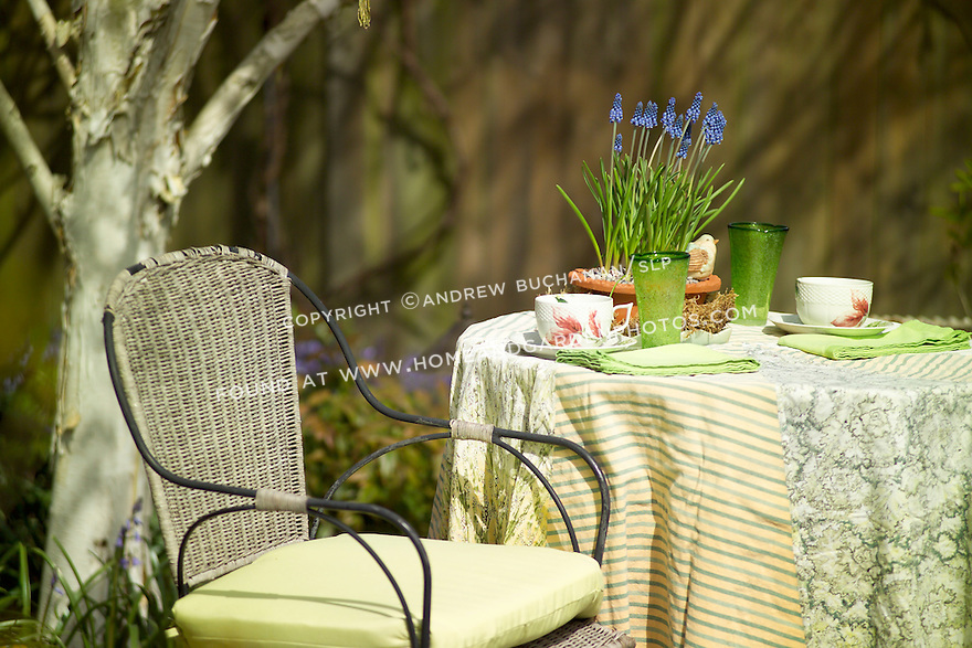 A small table and chairs tucked into the corner of the yard offer an inviting place to enjoy the arrival of spring.