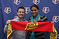 INDIANAPOLIS, IN - January 18, 2013: Adrianna Franch (right) was selected by Western New York Flash with the sixth pick in the draft. She is posing with her Oklahoma State University college coach Justin Elkington (left). The National Women's Soccer League held its college draft at the Indiana Convention Center in Indianapolis, Indiana during the NSCAA Annual Convention.