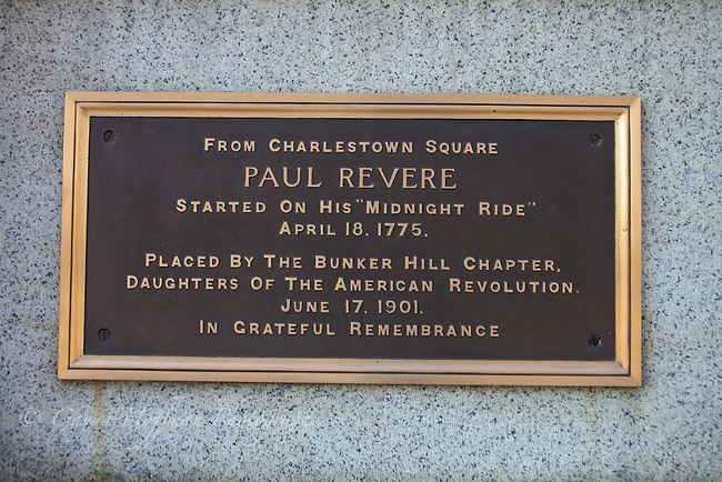Placque commemorating the start of Paul Revere's ride. Charlestown, MA