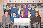 3rd Year students from Colaiste na Sceilge helped raise EUR500 for the Chernobyl Children's Project pictured here presenting a cheque to Adi Roche CAO of the Project on Wednesday were front l-r; Eileen O'Sullivan, Shane O'Sullivan, Adi Roche, Janette Condon(Teacher), Olivia Kennedy, back l-r; Ashling O'Sullivan, Amy Fitzgerald, Sarah Kennedy, Joanne Curran & Aoife Fitzgerald.