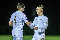 Friday  16 December 2014<br /> Pictured:  Swansea celebrate their win <br /> Re: Swansea City U18s v Wolverhampton Wonderers U18s, 3rd Round FA youth Cup Match at the Landore Training Facility, Swansea, Wales, UK