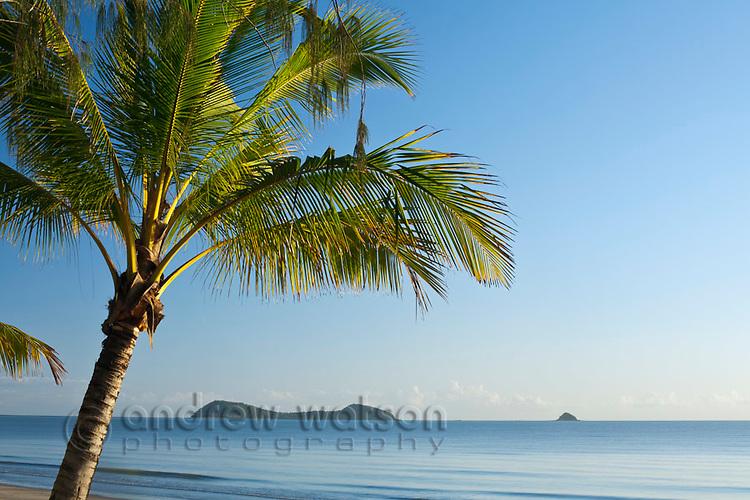 Kewarra Beach at dawn with Double Island in background.  Kewarra Beach, Cairns, Queensland, Australia